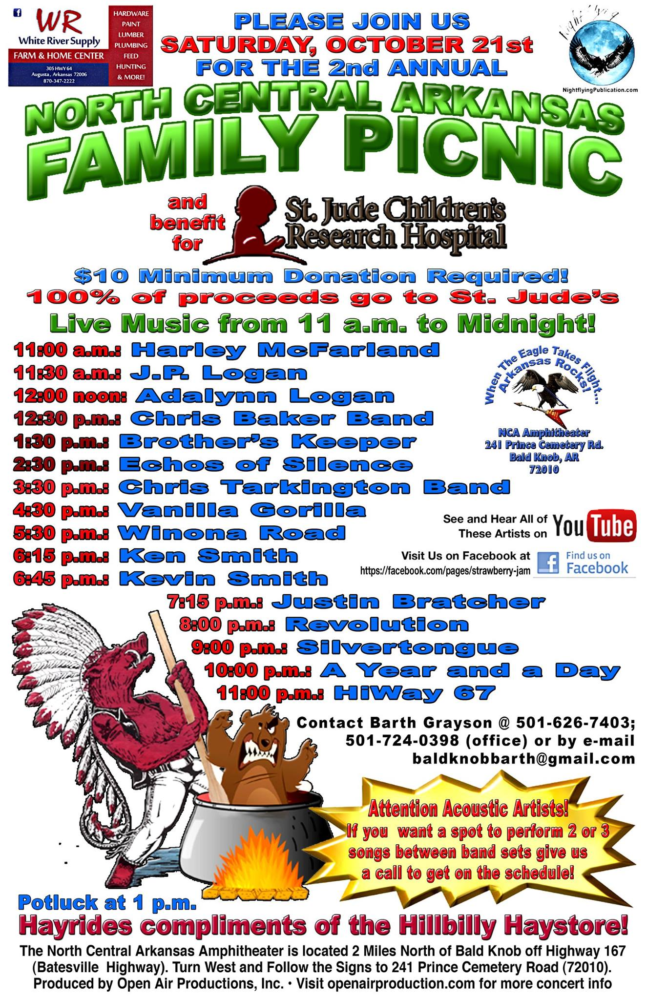 Second Annual St. Jude's Children's Hospital Benefit Set For North Central Arkansas Amphitheater